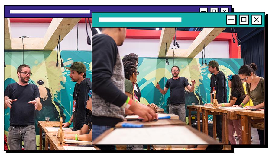 networking e interação com diferentes artistas no Pixel Show
